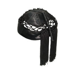 1940s Lord & Taylor Black Satin and Crochet Evening Hat w/ Tassels