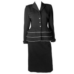 1950s Lilli Ann Black Fitted Suit w/ White Piping at Hips and Jewel Buttons