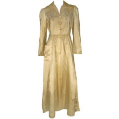1940s Satin Lounging Robe with Sheer Insets