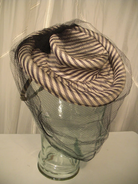 1940s Gray & White Striped Taffeta Tilt Hat with Rolled Brim, Back Ring and Veil 3