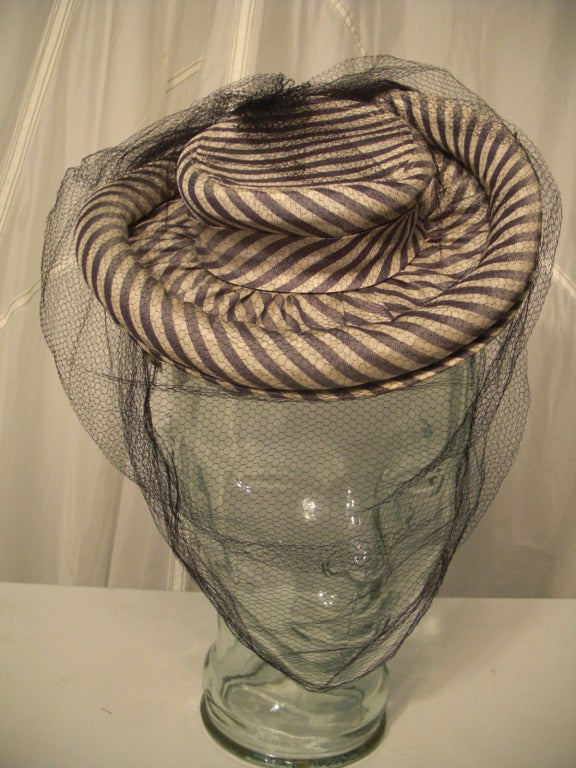 1940s Gray & White Striped Taffeta Tilt Hat with Rolled Brim, Back Ring and Veil 4