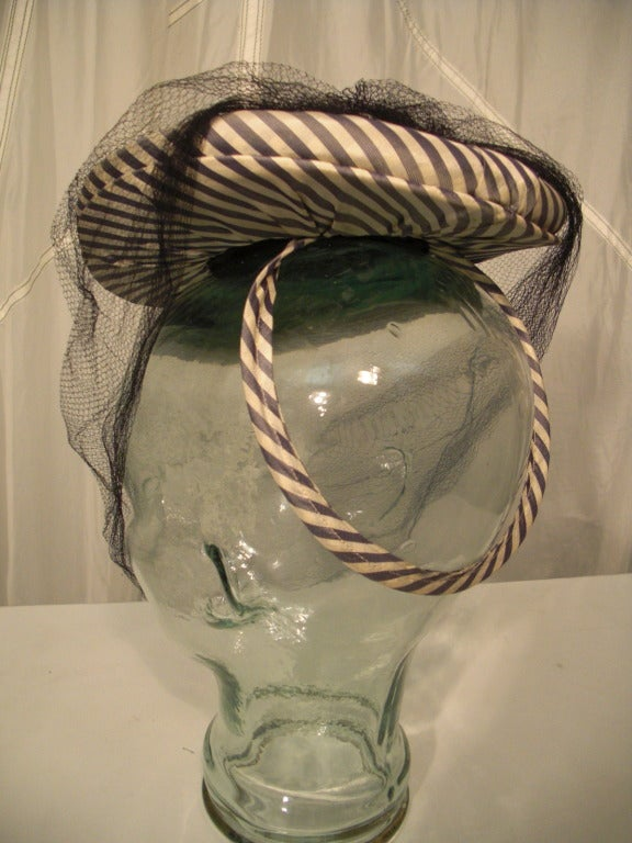 1940s Gray & White Striped Taffeta Tilt Hat with Rolled Brim, Back Ring and Veil 5