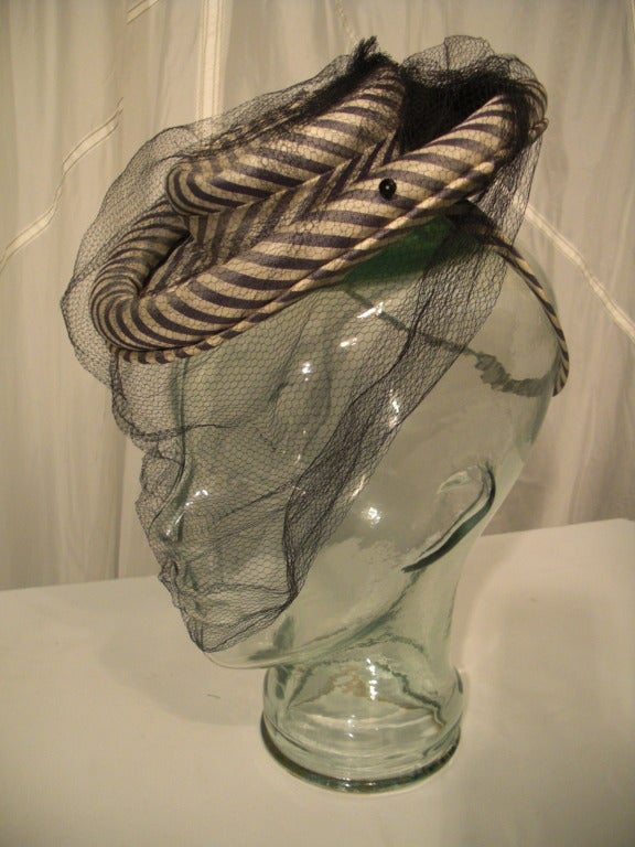 1940s Gray & White Striped Taffeta Tilt Hat with Rolled Brim, Back Ring and Veil 2