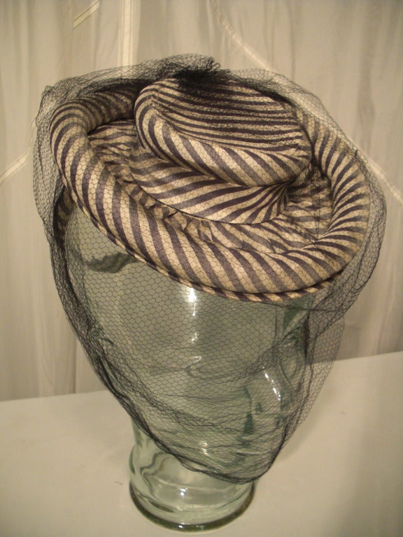 1940s Gray & White Striped Taffeta Tilt Hat with Rolled Brim, Back Ring and Veil 6