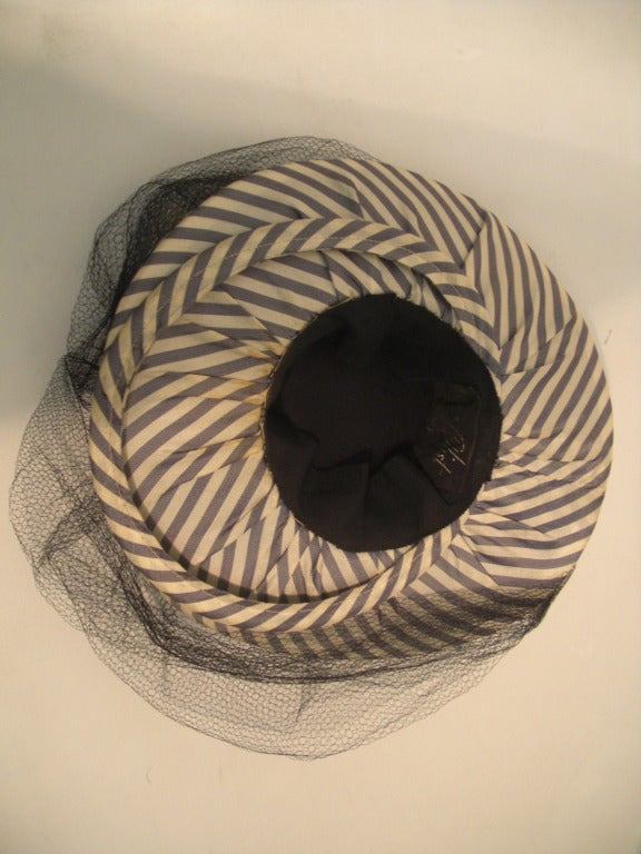 1940s Gray & White Striped Taffeta Tilt Hat with Rolled Brim, Back Ring and Veil 7