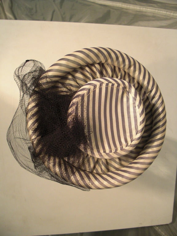 1940s Gray & White Striped Taffeta Tilt Hat with Rolled Brim, Back Ring and Veil 8