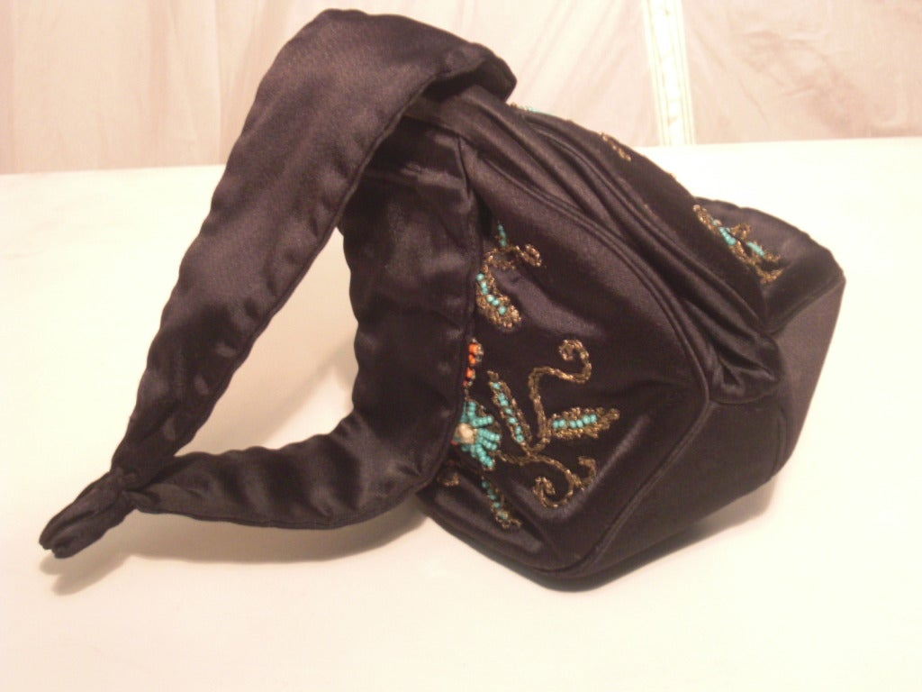 1940s Rosenfeld Silk Satin Embroidered and  Beaded Evening Bag 6