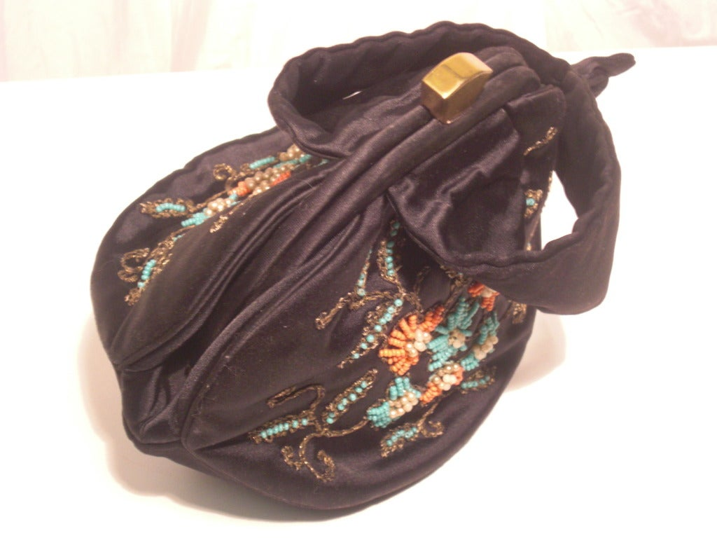 1940s Rosenfeld Silk Satin Embroidered and  Beaded Evening Bag 7