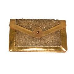 1950s Koret Gilt Leather and Sheer Sequin Evening Envelope Handbag