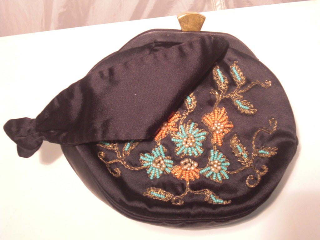 1940s Rosenfeld Silk Satin Embroidered and  Beaded Evening Bag 2