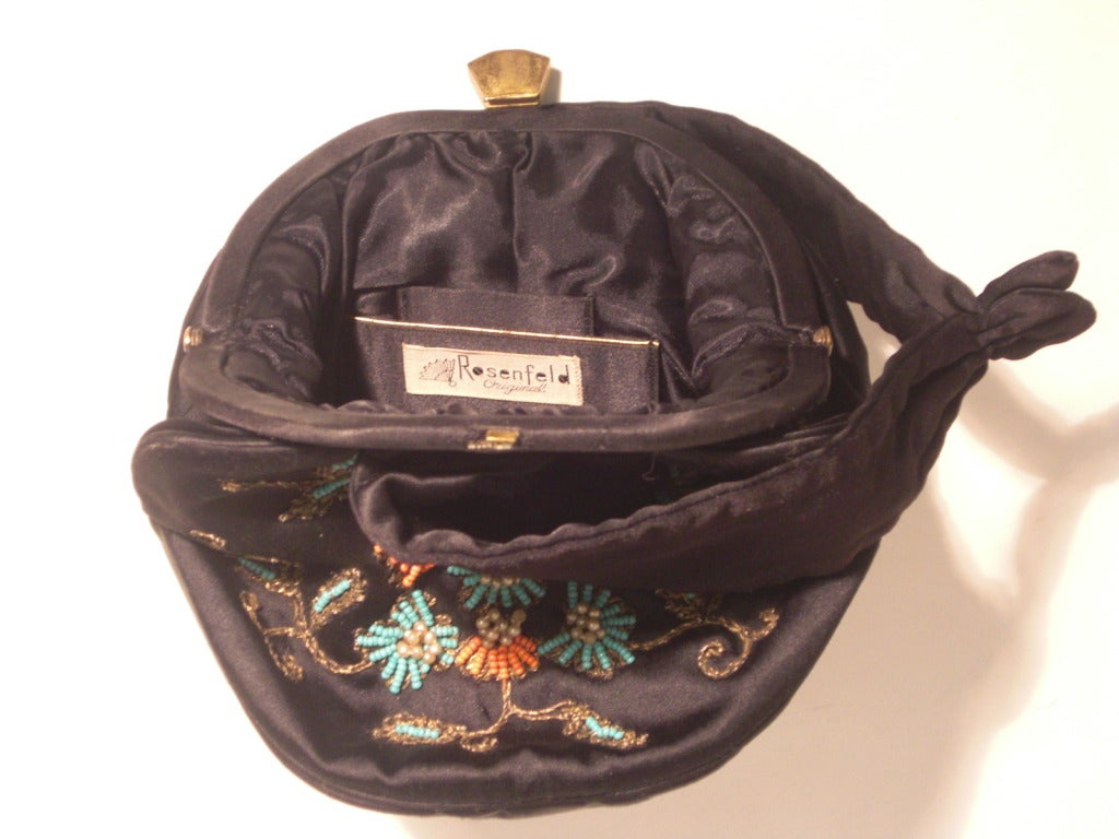 1940s Rosenfeld Silk Satin Embroidered and  Beaded Evening Bag 4