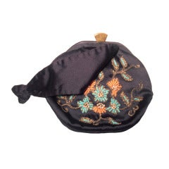 1940s Rosenfeld Silk Satin Embroidered and  Beaded Evening Bag