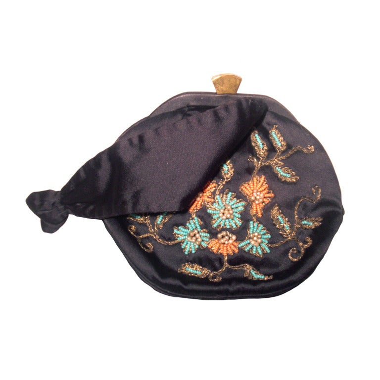 1940s Rosenfeld Silk Satin Embroidered and  Beaded Evening Bag 1