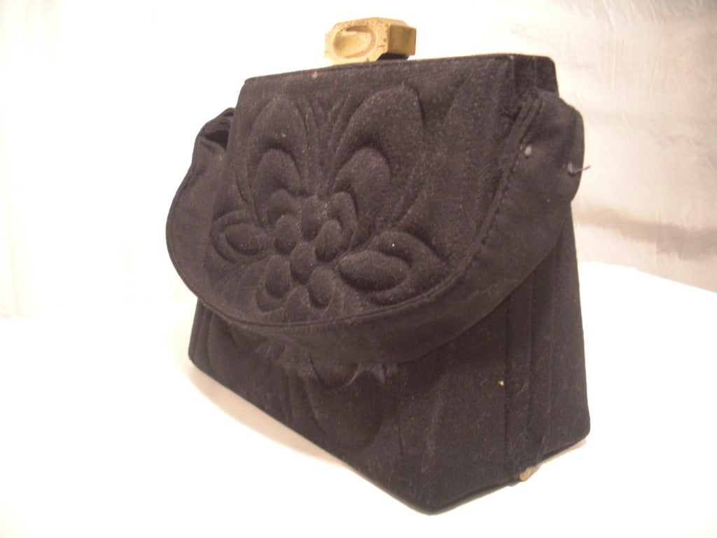 1940s Trapunto Stitched Black Wool Structured Box Purse Handbag 2