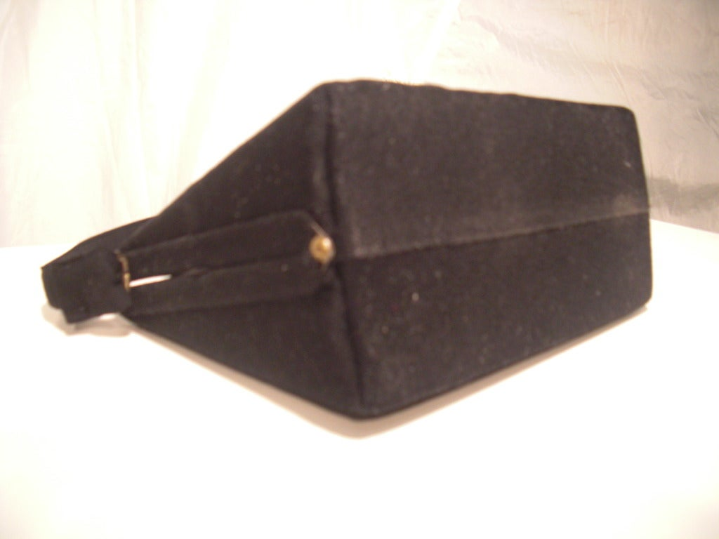 1940s Trapunto Stitched Black Wool Structured Box Purse Handbag 3