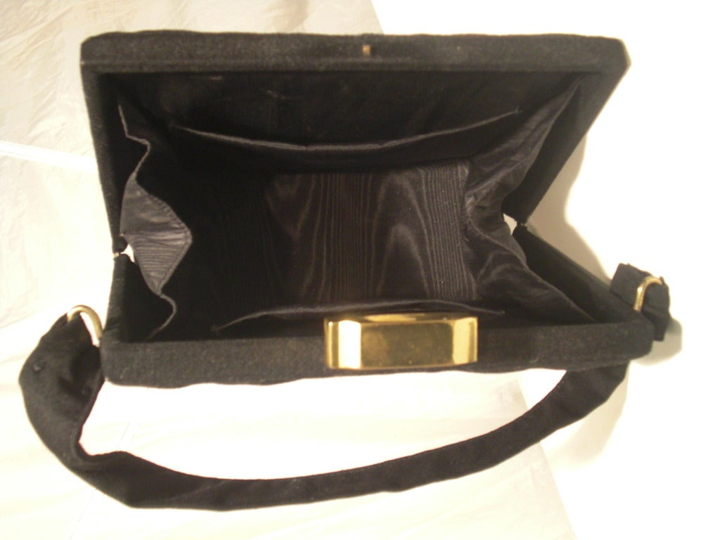 1940s Trapunto Stitched Black Wool Structured Box Purse Handbag 4