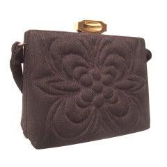 1940s Trapunto Stitched Black Wool Structured Box Purse Handbag