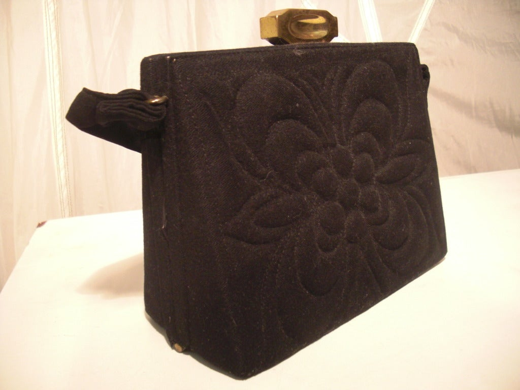 1940s Trapunto Stitched Black Wool Structured Box Purse Handbag 5