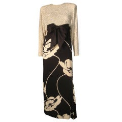 1987 James Galanos Bold Black and White Floral Print Gown w/ Beaded Top