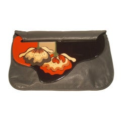 1980 Moon Bag Gray Leather Clutch w/ Hand Painted Lucite Closure