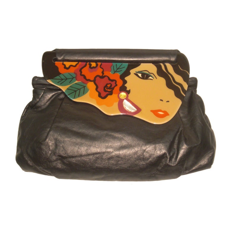 1984 Leather Clutch w/ Handpainted Lucite Closure