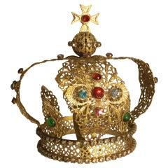 A Vintage Italian Miniature Metal Filigree and Jeweled Royal Crown