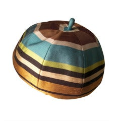 1960s I. Magnin Striped Silk Beanie Beret Hat