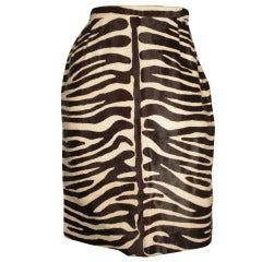 1980s Bill Blass Zebra Stenciled Genuine Calf Hide Pencil Skirt