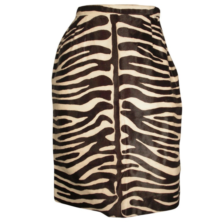 1980s bill blass zebra stenciled genuine calf hide pencil