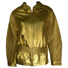 A 1980s Andrea Pfister Gilt and Woven Leather Biker Style Jacket w/ Belt