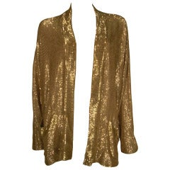 1980s Fred Hayman Sold Gold Beaded Rayon Sweater Jacket