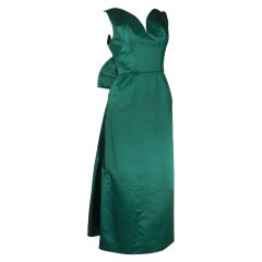 1950s Helga Emerald Green Silk Satin Gown w/ Back Bow