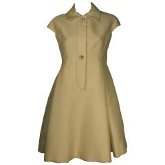 1960s Geoffrey Beene Mod Silk Button-Down Dress w/ Full Skirt