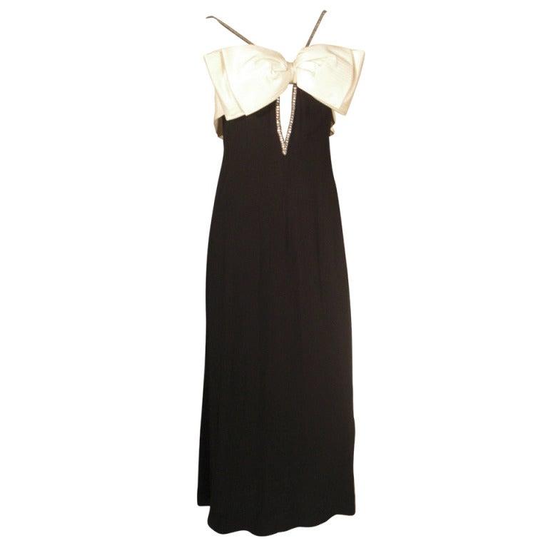 1970s Bob Mackie Black Gown w/ White Bow and Rhinestone Trim