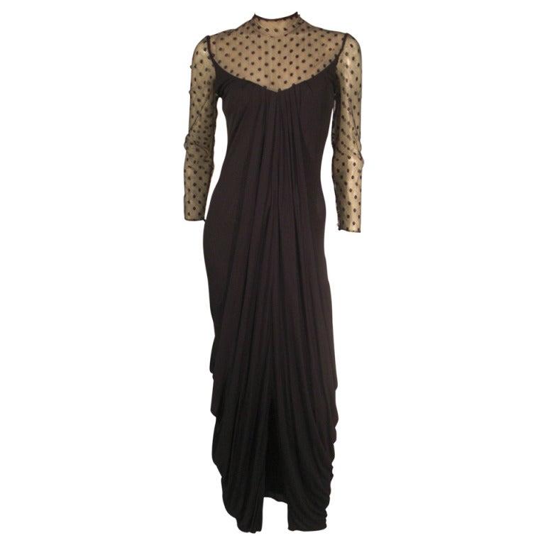 1970s Estevez Draped Jersey Gown with Pointe D'Esprit Tulle Bodice For Sale