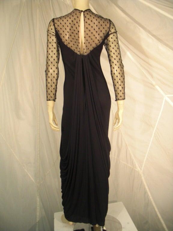 Black 1970s Estevez Draped Jersey Gown with Pointe D'Esprit Tulle Bodice For Sale