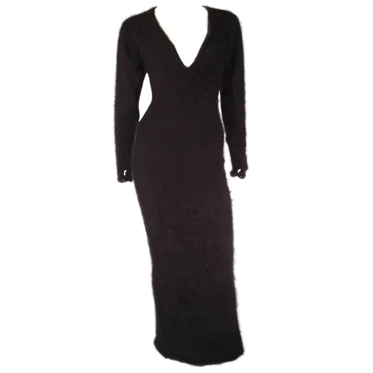 1980s James Galanos Black Angora and Cashmere Sweater Dress