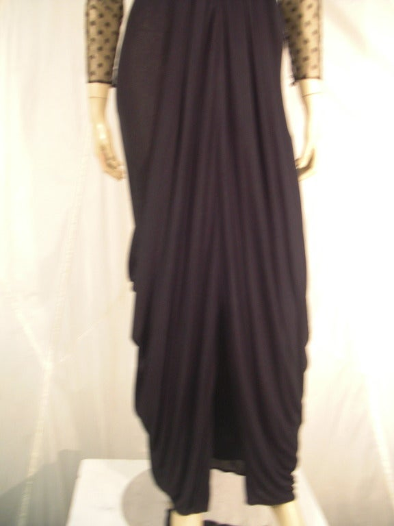1970s Estevez Draped Jersey Gown with Pointe D'Esprit Tulle Bodice In Excellent Condition For Sale In San Francisco, CA