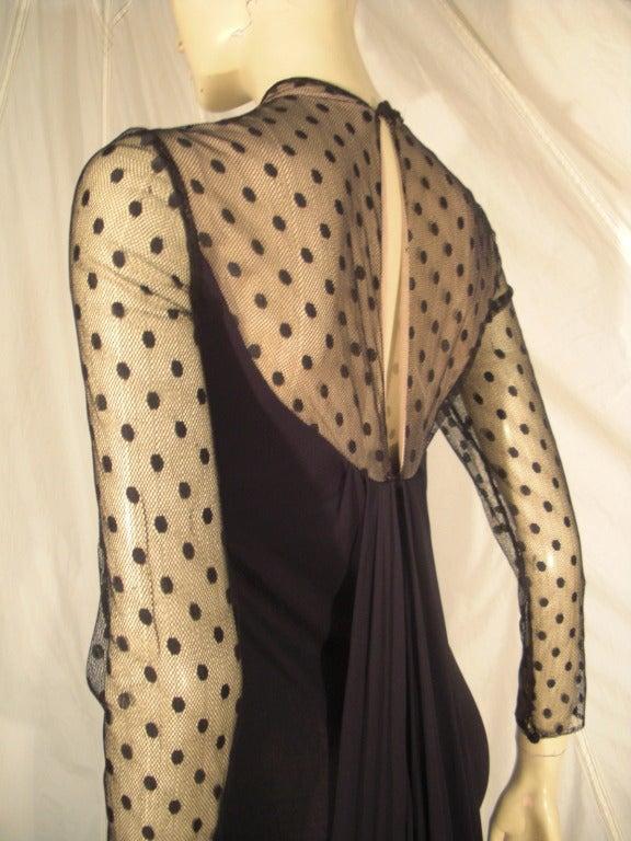 1970s Estevez Draped Jersey Gown with Pointe D'Esprit Tulle Bodice For Sale 1