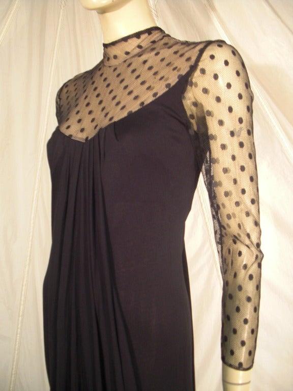 1970s Estevez Draped Jersey Gown with Pointe D'Esprit Tulle Bodice For Sale 2