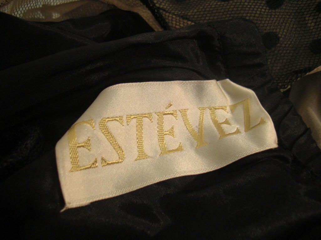 1970s Estevez Draped Jersey Gown with Pointe D'Esprit Tulle Bodice For Sale 3