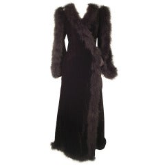 Fernando Sanchez 1970s Velvet and Marabou Dressing Gown w/ Bared Arms