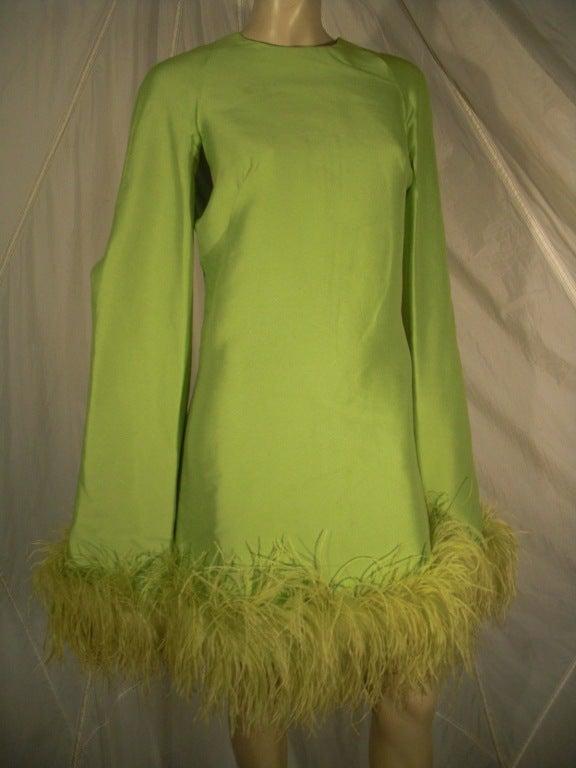 1960s Apple Green Silk Shantung Mini Dress With Ostrich