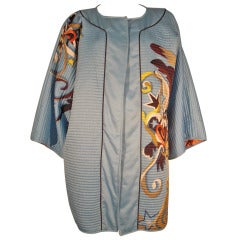 """1980s """"Very Vollbracht"""" Quilted Showgirl Print Silk Asian-Inspired Jacket"""