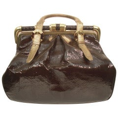 Oscar De la Renta Mocha Patent Leather Tote Bag with Gold Leather and Metal Accents