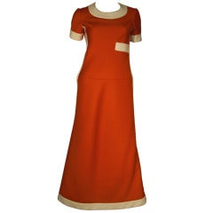 1960s Unmarked Nina Ricci 4ply Knit Mod Maxi Dress