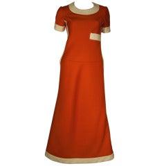 1960s Unmarked Nina Ricci 4ply Knit Mod Maxi Dress