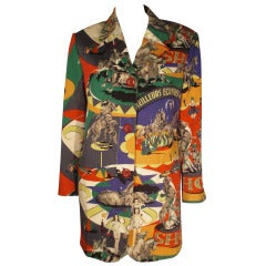 1980s Complice French Circus Collage Print Lightweight Wool Jacket