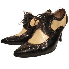 Chanel Tan and Patent Spectator Oxford Stilettos