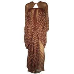 1970s James Galanos 2-Piece Printed Silk Chiffon Jumpsuit and Cocoon Float